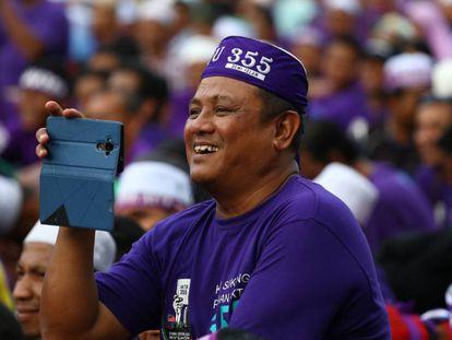 Concentración en Kuala Lumpur el pasado sábado para la adopción de un código penal islámico más estricto.