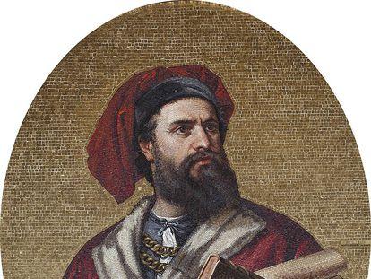 Un mosaico de Marco Polo en el Palazzo Doria-Tursi, en Génova.