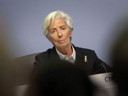 Christine Lagarde, presidenta del Banco Central Europeo, en la sede del organismo en Fráncfort.