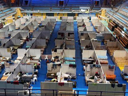 El estadio Cincuentenario de Formosa, convertido en centro de aislamiento por la pandemia.