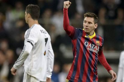 Messi celebra la victoria ante el Real Madrid.