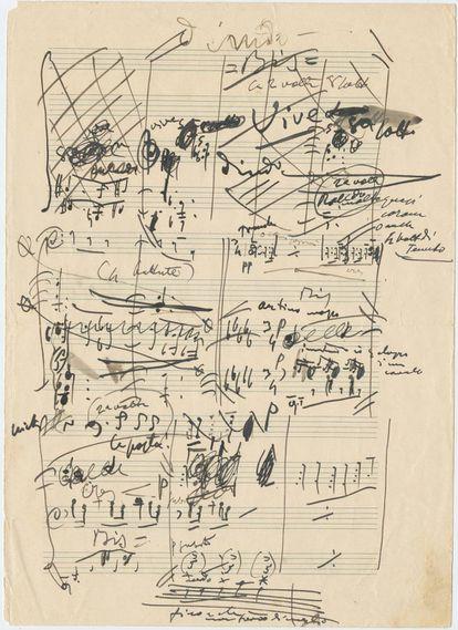 Manuscrito de 'La Fanciulla del West', de Giacomo Puccini en 1908, que revela la energía con la que el compositor volcaba sus ideas en la partitura. HAGA CLICK EN La IMAGEN PARA VER LOS MEJORES DOCUMENTOS DE LA COLECCIÓN