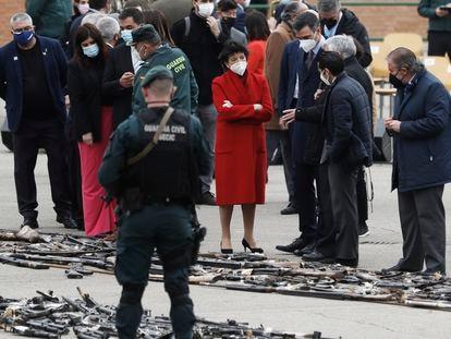 El presidente del Gobierno, Pedro Sánchez, en el acto institucional de destrucción de armas incautadas a bandas terroristas, en el Colegio de Guardias Jóvenes de Valdemoro (Madrid), este jueves.