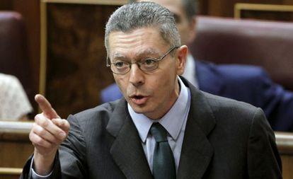 Ruiz Gallardón, durante una intervención en la sesión de control al Ejecutivo