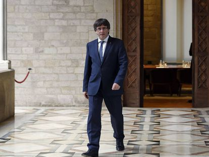 Carles Puigdemont en la sede de la Generalitat en octubre del pasado año.