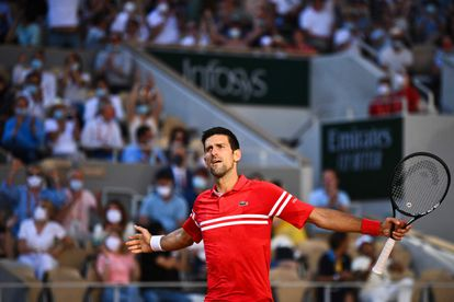 Novak Djokovic durante la final de Roland Garros.