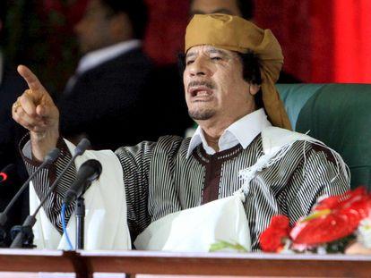 Muamar El Gadafi, en Trípoli, el 2 de marzo de 2011, durante la celebración del 34º aniversario de la creación del Comité General del Pueblo.