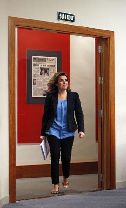 La vicepresidenta del Gobierno, Soraya Sáenz de Santamaría, en La Moncloa.