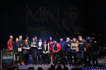 Los galardonados en los Premios de la Música Independiente, anoche en el Teatro Circo Price.