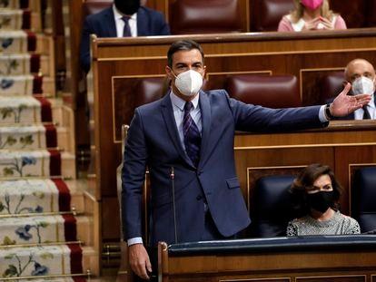 Pedro Sánchez durante el Pleno de sesión de control al Gobierno en el Congreso de los Diputados el pasado miércoles.