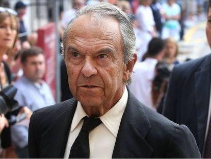 aime Botín en Santander, el día del funeral de su hermano Emilio, en septiembre de 2014