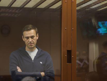 Navalni, en el tribunal de Moscú, el pasado 12 de febrero.