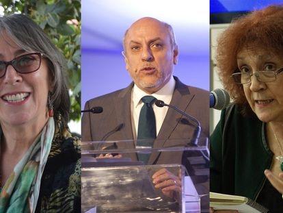 Los investigadores Gabriela Dutrénit Bielous, Enrique Cabrero Mendoza y Julia Tagüeña Parga.