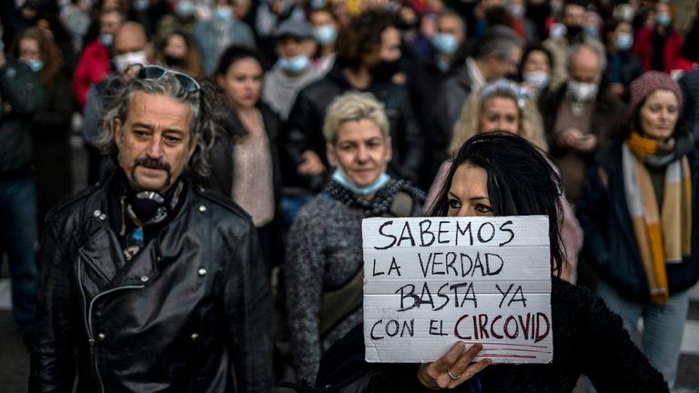 Manifestación de negacionistas de la covid-19, el pasado 7 de noviembre en Madrid.