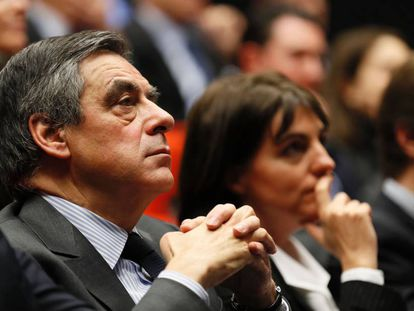 El líder conservador y candidato al Elíseo, François Fillon, durante un acto este jueves.