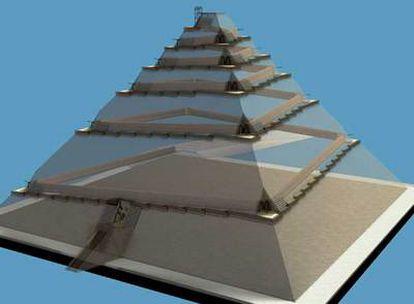 Imagen en tres dimensiones generada por ordenador en la que se ve cómo pudo ser la construcción de la pirámide de Gizeh.
