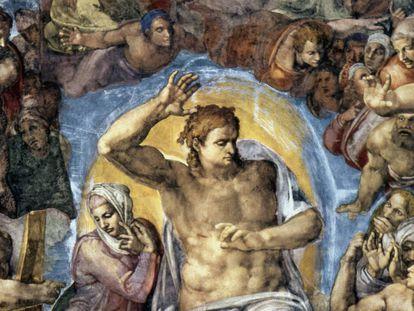 Detalle de 'El juicio final' de Miguel Angel, en la Capilla Sixtina.