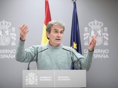 Fernando Simón, en una rueda de prensa en La Moncloa el pasado jueves.