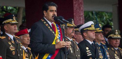Maduro pronuncia un discurso en la conmemoración de los 205 años de la Independencia de Venezuela.