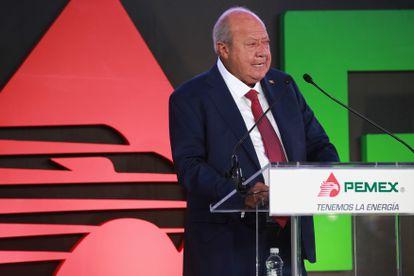 Carlos Romero Deschamps, padre de Carlos Romero Durán, durante un discurso el 06 de noviembre del 2016.