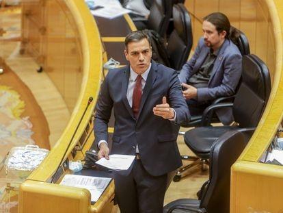 El presidente del Gobierno, Pedro Sánchez, en su intervención en el Senado.