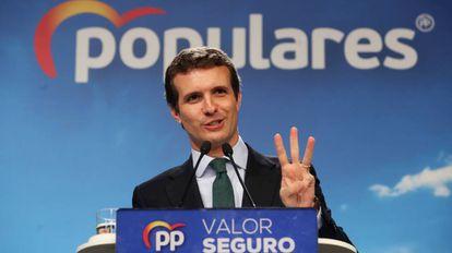 Pablo Casado, en rueda de prensa tras la reunión del comité ejecutivo nacional del PP el 29 de abril.