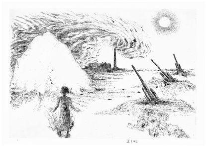 Ilustración de Günter Grass para 'Alabardas', de Saramago.