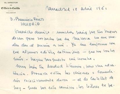 Carta inédita de Delibes de 1961.
