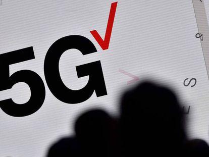Un logo sobre el 5G en el MWC de Barcelona.