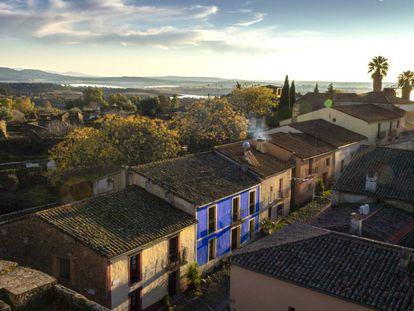 Vista área del pueblo de Granadilla, en Cáceres. |