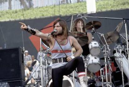 Iron Maiden durante un concierto en los años 80.