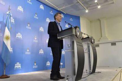 Macri en la rueda de prensa en Olivos.