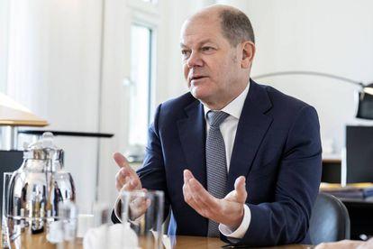 El ministro de Finanzas alemán, Olaf Scholz, durante la entrevista con este diario en su despacho en Berlín.
