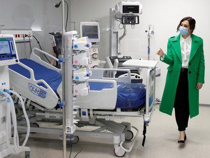 Isabel Díaz Ayuso, durante la inauguración del Hospital Enfermera Isabel Zendal el pasado 1 de diciembre.