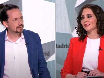 Los candidatos Pablo Iglesias e Isabel Díaz Ayuso durante el debate electoral en Telemadrid el pasado miércoles.