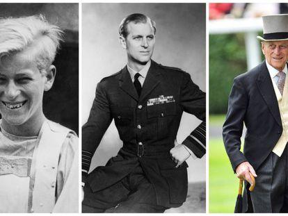1: El Duque de Edimburgo, con 14 años, en la representación escolar de 'Macbeth' en 1935. 2: En 1957, con el uniforme de la Real Fuerza Aérea Británica. 3: El duque durante las carreras de caballos de Ascot en 2011.
