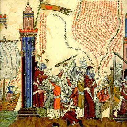 Ilustración medieval sobre la vida de Ramon Llull recogida en el 'Breviculum', de Tomàs Le Myésier.