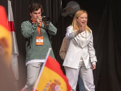 La política italiana Giorgia Meloni, en un acto de Vox el domingo pasado en Madrid.