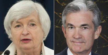 La actual presidenta de la Reserva Federal, Janet Yellen, y su casi seguro sucesor, Jerome Powell.