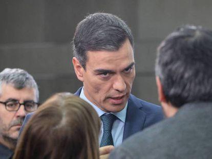 Pedro Sánchez, durante la comparecencia para comunicar su posición ante la actual situación de Venezuela el pasado sábado. En vídeo, declaciones de Pedro Sánchez.