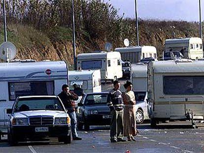 Algunos de los acampados en Sant Cugat, momentos antes de emprender la marcha.