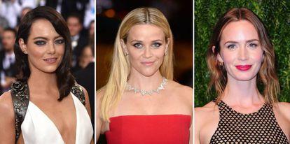 De izquierda a derecha, las actrices Emily Blunt, Emma Stone, Reese Witherspoon.