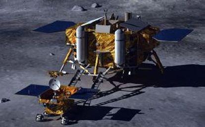 Ilustración de la misión Chang E3 en la Luna, con un módulo de descenso y un vehículo rodante.