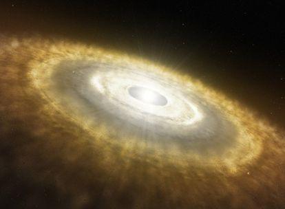 Dibujo de una estrella recién nacida rodeada de un disco protoplanetario en el que ya están formando planetas.