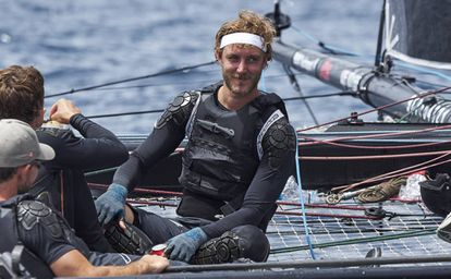 Pierre Casiraghi navegando en la Copa Del Rey de vela celebrada en Mallorca en agosto de 2017.