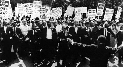 Martin Luther King Jr en una manifestación por la igualdad de derechos de agosto de 1963 en Washington.