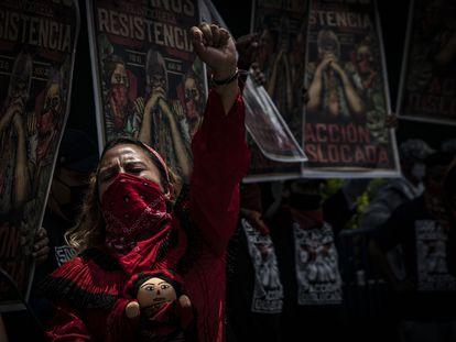 Integrantes de diversas organizaciones indígenas, realizaron un mitin en protesta por el asesinato de Samir Flores el 13 de agosto de 2021.