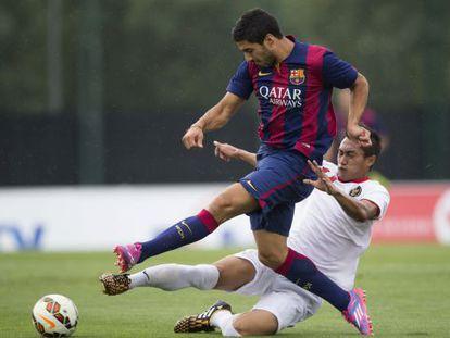Luis Suárez, en el amistoso del filial ante Taliandia Sub 19.