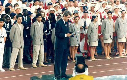Pasqual Maragall, durante su discurso para la inauguración de los Juegos Olímpicos de Barcelona.