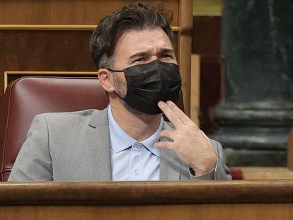 El portavoz de ERC, Gabriel Rufián, este miércoles en el Congreso.